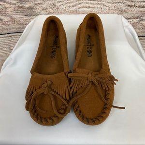 Minnetonka Kids Brown Leather Moccasins